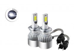 Комплект LED ламп C6 H7 6000K 12V радиатор с вентилятором (chip COB)