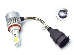 Комплект LED ламп C6 H11 6000K 12V радиатор с вентилятором (chip COB)